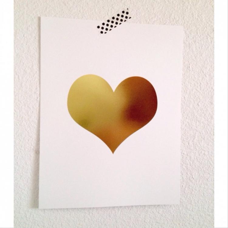 Gold Foil Heart Art Print