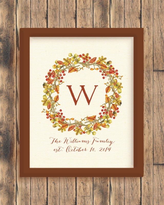 Watercolor Fall Wreath Print