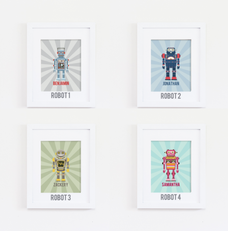 Personalized Retro Robot Print