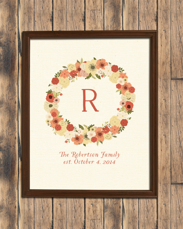 Personalized Fall Floral Wreath Print