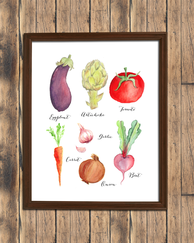 Watercolor Veggie Print