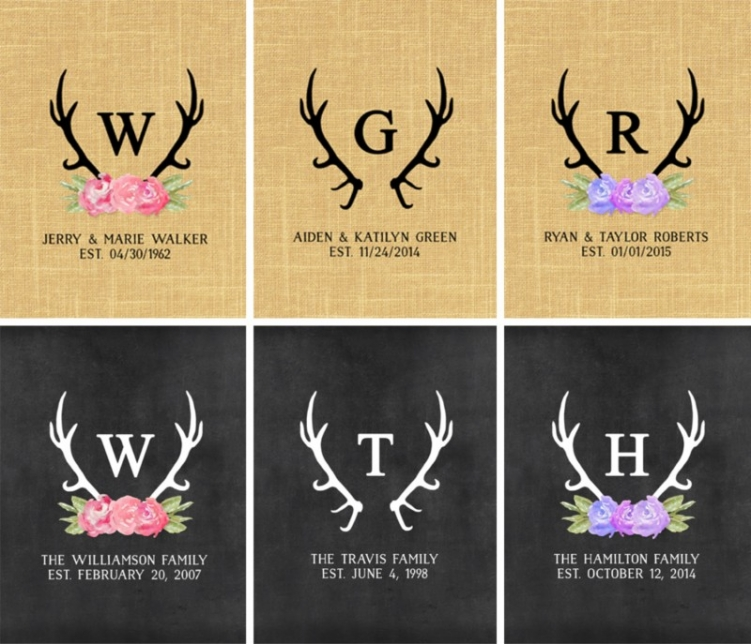 Personalized Floral Antlers Print